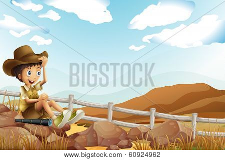 Illustration of a young explorer sitting above the rock near the wooden fence