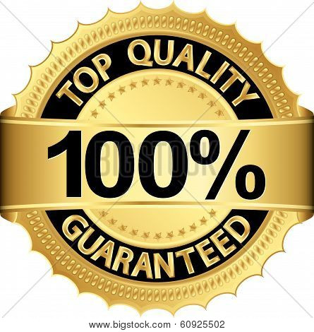 Top Quality 100 Percent Guaranteed Golden Label, Vector Illustration