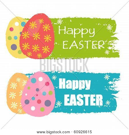 Happy Easter And Easter Eggs With Flowers, Drawn Labels