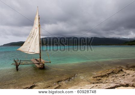 Traditional South Pacific outrigger canoe