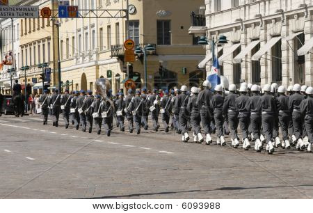 A Small Military Parade. Helsinki, Finland