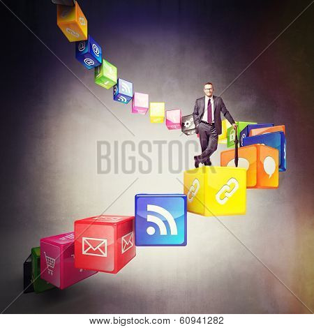 3d cubes and smart icon with smiling businessman