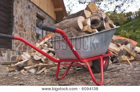 Wood On A Wheelbarrow
