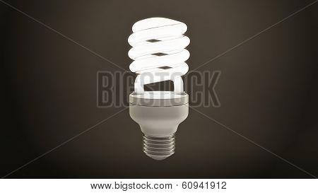 Single Fluorescent Light Bulb Over Dark Background