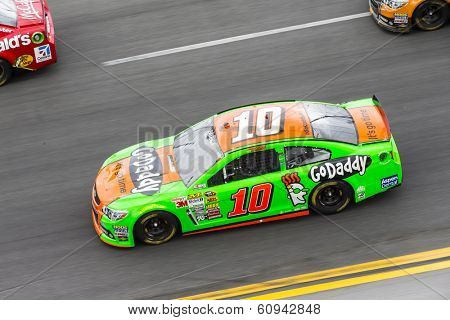 Daytona Beach, NC - Feb 23, 2014:  Danica Patrick (10) brings her race car through the turns during the Daytona 500 race at the Daytona International Speedway in Daytona Beach, NC.