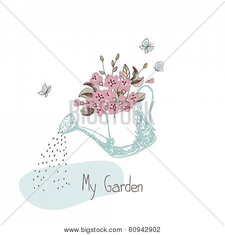 garden theme, watering can