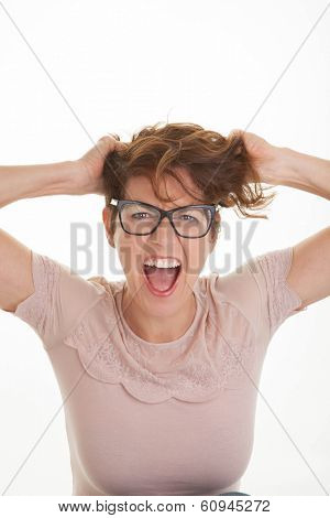 frustrated woman with hands to  head