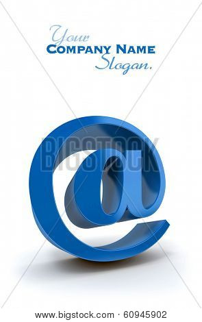 3D rendering of the at symbol in blue on a white background
