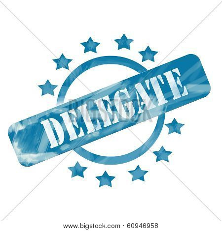 Blue Weathered Delegate Stamp Circle And Stars Design