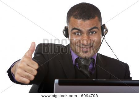 Young Male Call Center Agent Express Happiness