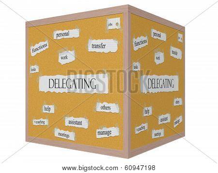 Delegating 3D Cube Corkboard Word Concept