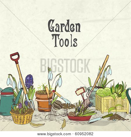 Hand drawn gardening tools album cover