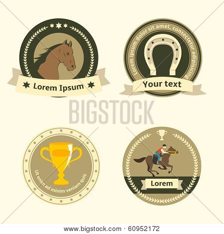 Horseback riding flat badges and labels