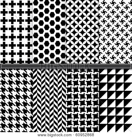 Houndstooth and Geometric seamless pattern set - Illustration