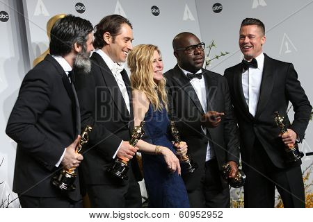 LOS ANGELES - MAR 2:  Best Picture Producers - Anthony Katagas, Jeremy Kleiner, Dede Gardner, Steve McQueen, Brad Pitt  at the 86th Academy Awards at Dolby Theater on March 2, 2014 in Los Angeles, CA
