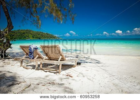 Beautiful turquoise beach on  Koh Rong Samloem island  in Cambodia.