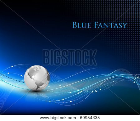 Blue abstract fantasy background - vector illustration