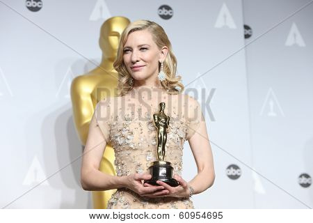 LOS ANGELES - MAR 2:: Cate Blanchett  in the press room at the 86th Annual Academy Awards on March 2, 2014 in Los Angeles, California