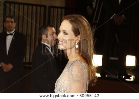 LOS ANGELES - MAR 2:: Angelina Jolie  at the 86th Annual Academy Awards at Hollywood & Highland Center on March 2, 2014 in Los Angeles, California