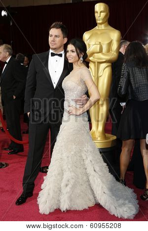 LOS ANGELES - MAR 2:: Channing Tatum, Jenna Dewan  at the 86th Annual Academy Awards at Hollywood & Highland Center on March 2, 2014 in Los Angeles, California