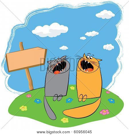 cartoon funny cats singing in a meadow with flowers