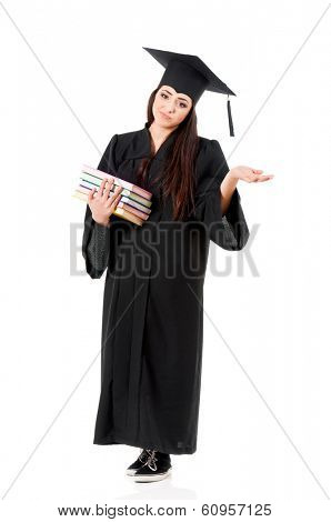 Young pretty teen student girl holding books