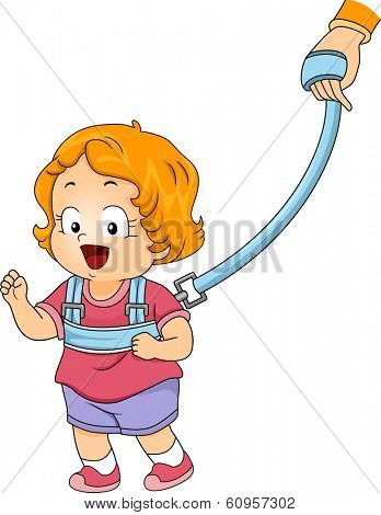 Illustration of a Little Girl Strapped to a Backpack Leash