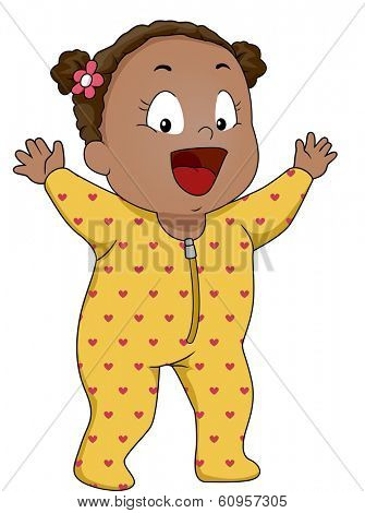 Illustration of a Smiling Baby Girl Wearing Footie Pajamas
