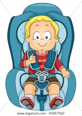 Illustration of a Toddler Strapped to a Car Seat
