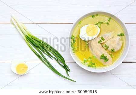 Chicken Broth With Egg And Green Onions