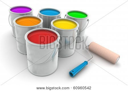 Six Tin Of Paint And Roller Brush