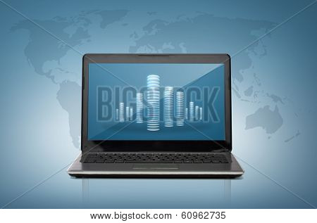 technology and advertisement concept - laptop computer with skyscrapers on screen