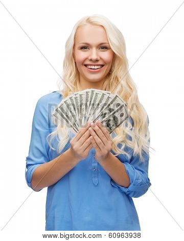 money, finances and people concept - smiling girl with dollar cash money