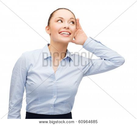 business, office and gossip concept - smiling businesswoman listening gossig