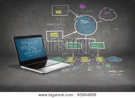 technology and advertisement concept - laptop computer with big plan on screen