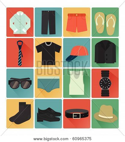 flat icons gent clothes set