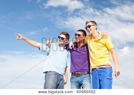summer, holidays, vacation, happy people concept - group of male friends walking on the beach pointing finger somewhere