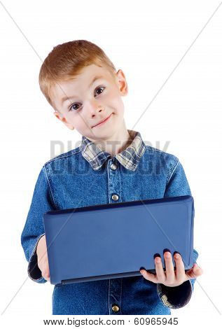 Surprised Boy Holds The Laptop