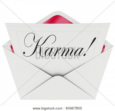 Karma Word Note Envelope Message Letter Future Fate