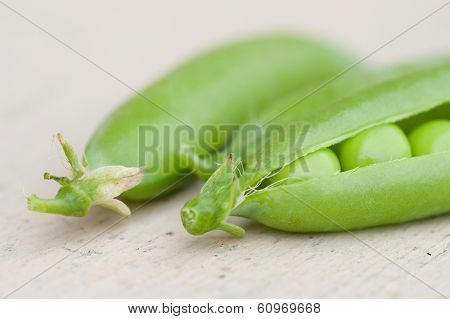 Some Pea Pods on the desk