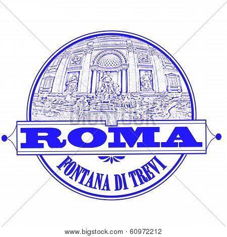 Roma Fontana Di Trevi Stamp