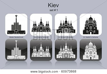 Landmarks of Kiev. Set of monochrome icons. Editable vector illustration.