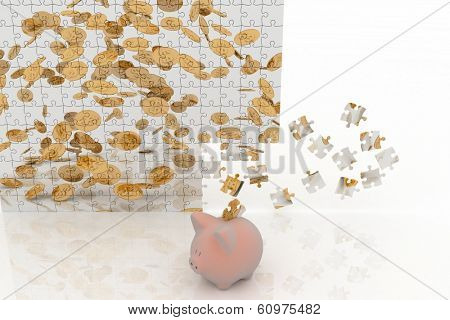 Piggy bank looking at the picture of the puzzle with falling coins. 3d illustration on white background.