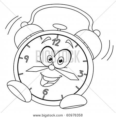 Outlined cartoon alarm clock. Vector illustration coloring page