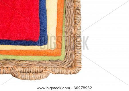 Clean Colorful Washed Towels In A Wicker Basket