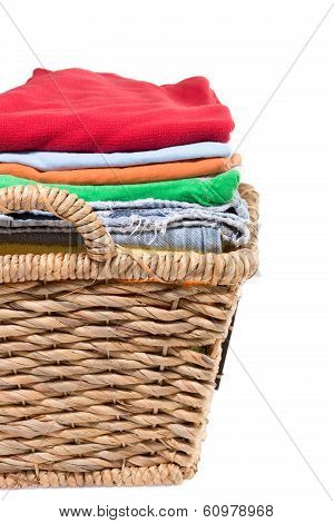 Wicker Basket Of Clean Fresh Laundry