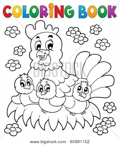 Coloring book chicken theme 1 - eps10 vector illustration.