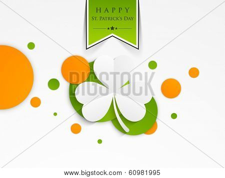 Happy St. Patrick's Day celebrations flyer, poster or banner design with beautiful Irish lucky clover leaf on creative background.