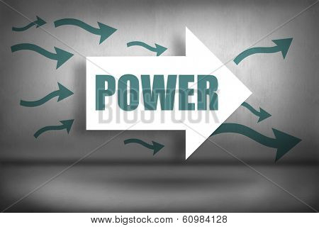 The word power against arrows pointing