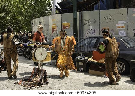 Native Americans Inca Performing With A Tourist